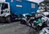 Câmera de segurança grava exato momento do acidente no bairro Próspera, em Criciúma
