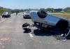 Capotamento deixa vítima ferida na Via Rápida, em Criciúma