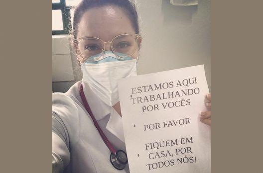 A médica araranguaense Cynthia Lima deu o seu recado
