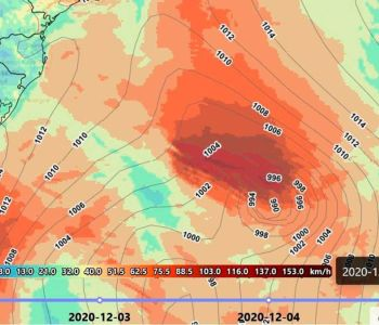 Ciclone provoca vento forte no Sul